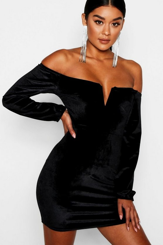 Claire Off the Shoulder Velvet Bodycon Dress