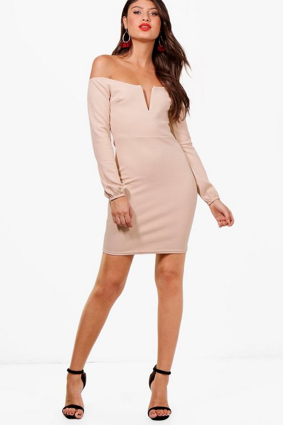 Beth Plunge Off the Shoulder Bodycon Dress