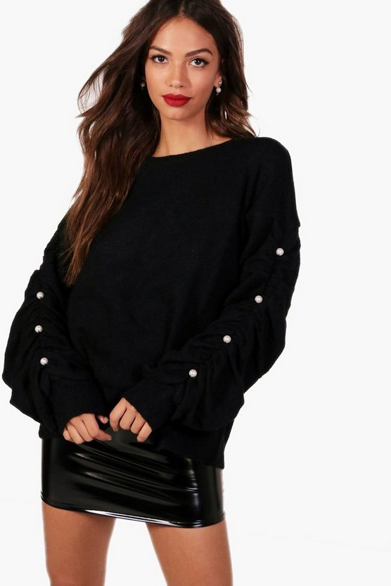 Abbie Boutique Fluffy Knit Pearl Ruched Sleeve Jumper