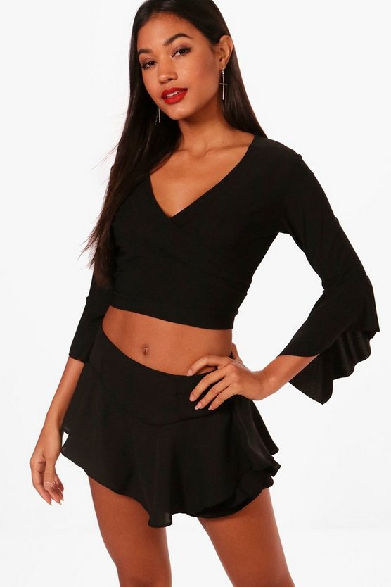 Lea Ruffle Sleeve Wrap Front Top