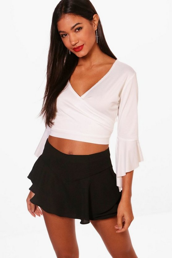 Ruffle Sleeve Wrap Front Top