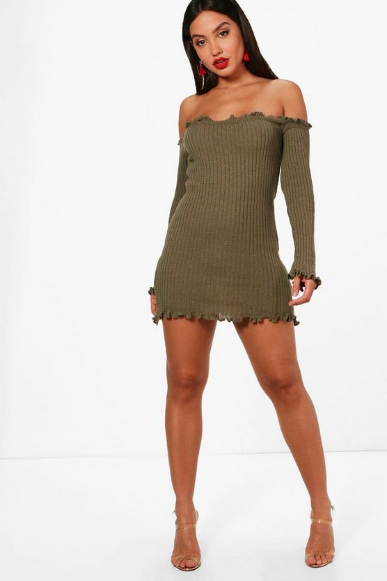 Morgan Lettuce Hem Rib Knit Long Sleeve Dress