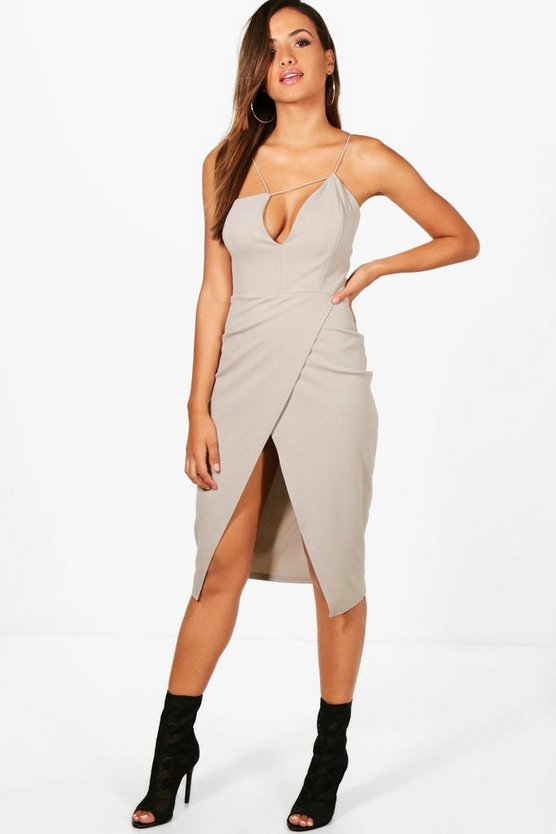 Strappy Wrap Skirt Midi Dress