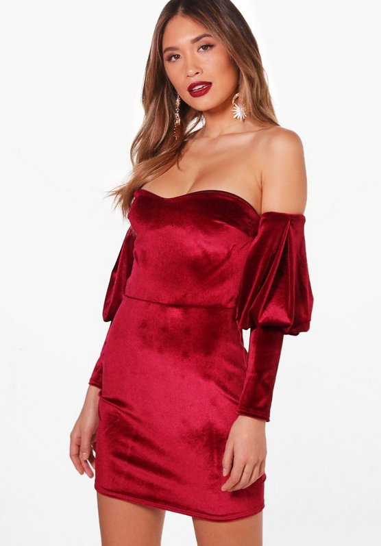 Delia Velvet Off the Shoulder Bodycon Dress