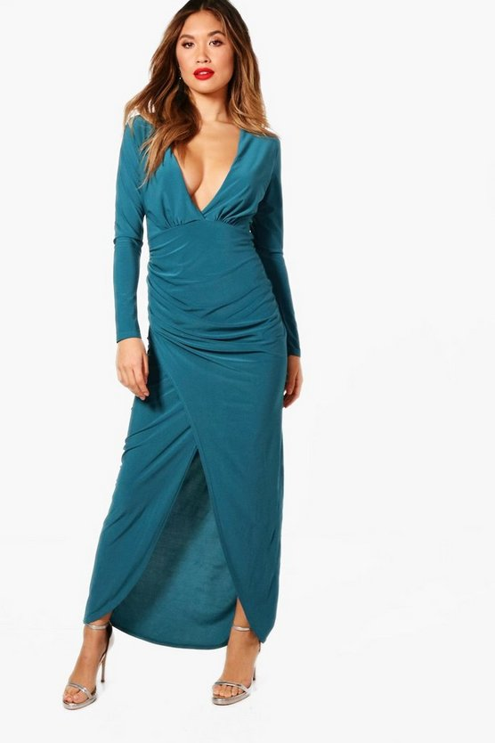 Jade Plunge Neck Wrap Detail Maxi