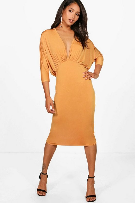 Harriet Batwing Plunge Neck Midi Dress