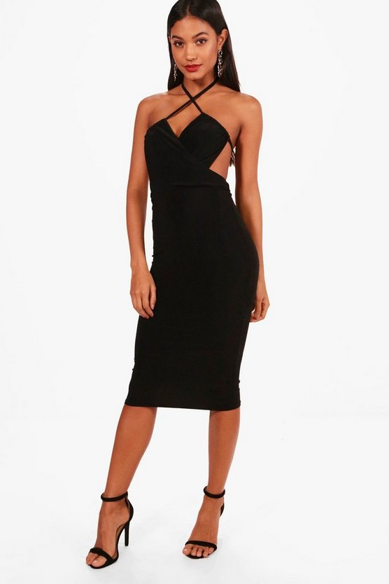 Alice Wrap Open Back Detail Midi Dress