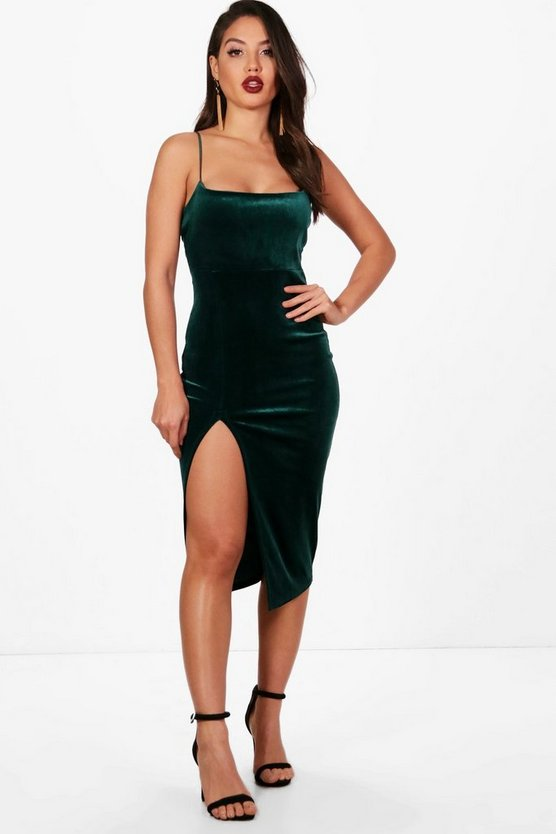 Diana Velvet Strappy Side Split Midi Dress