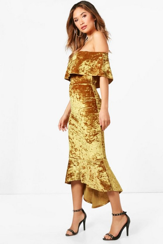Di Crushed Velvet Off the Shoulder Midi Dress