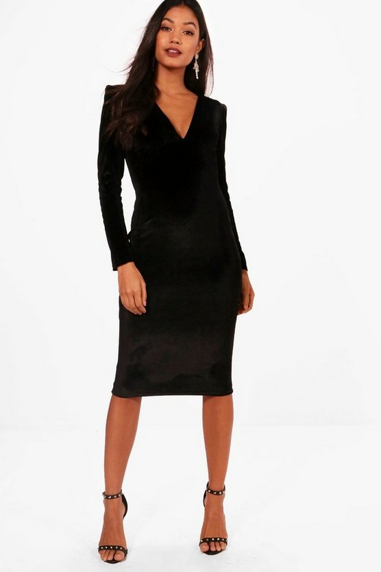 Hattie Velvet Plunge Neck Midi Dress