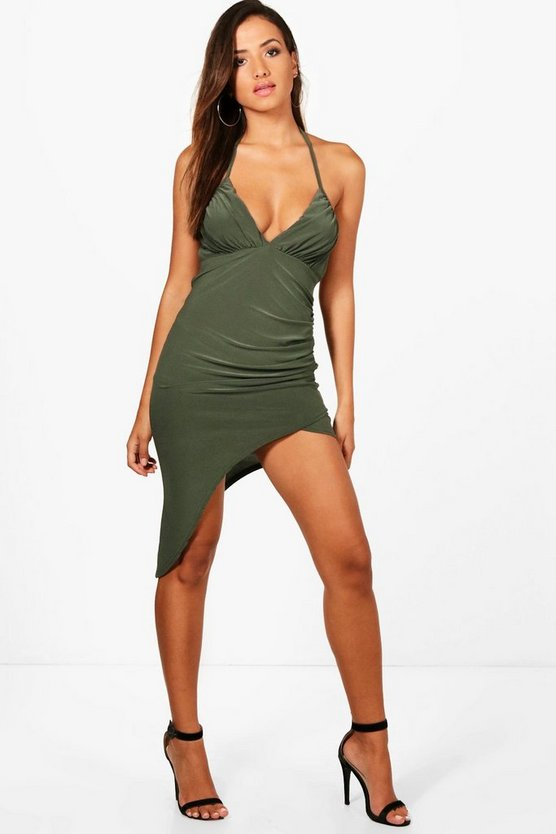 Slinky Asymmetric Thigh Split Midi Dress
