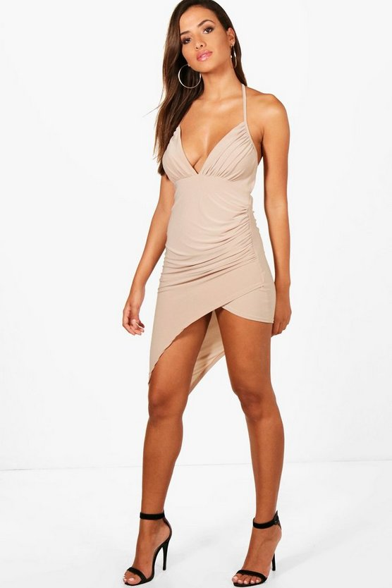 Shelly Slinky Asymmetric Thigh Split Midi Dress