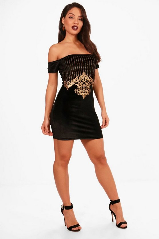 Emily Velvet Off the Shoulder Bodycon Dress