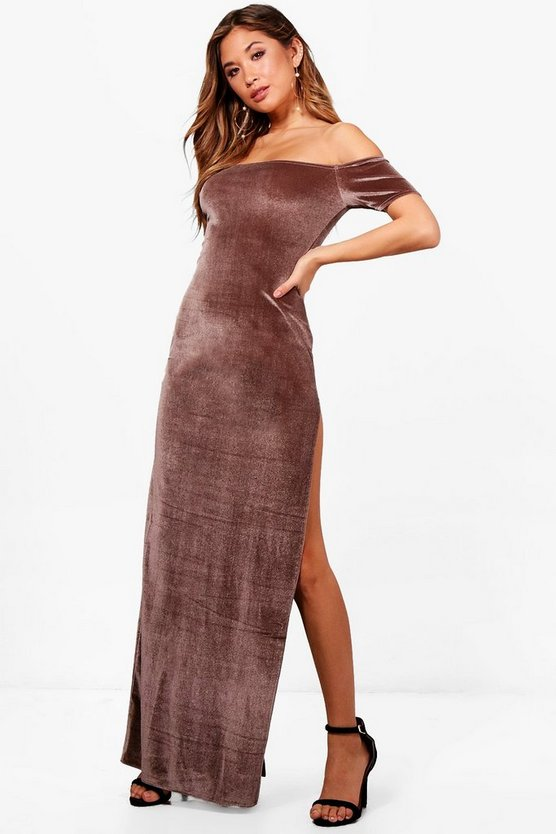 Velvet Thigh Split Maxi Dress