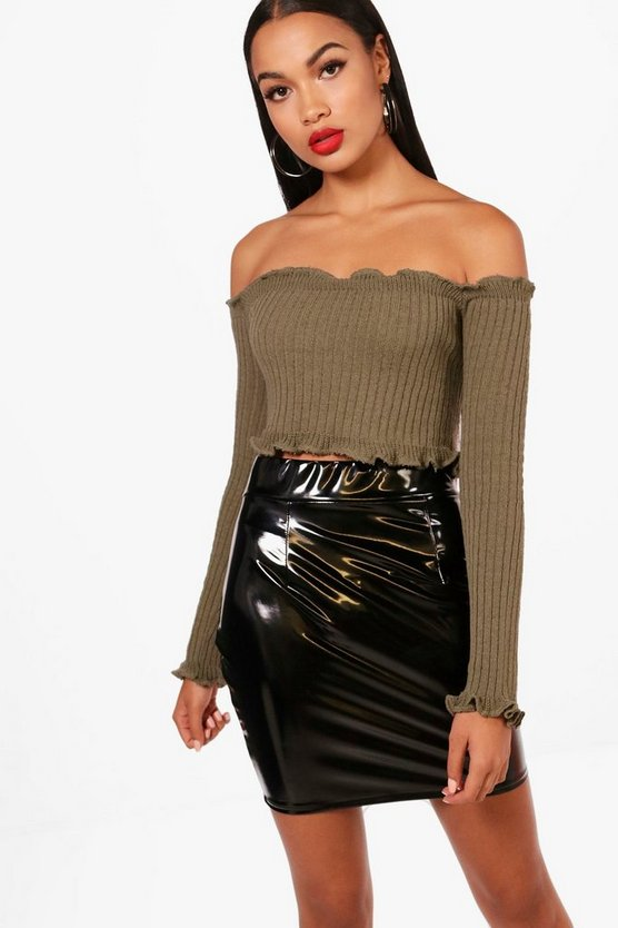 Kate Lettuce Hem Rib Crop Jumper