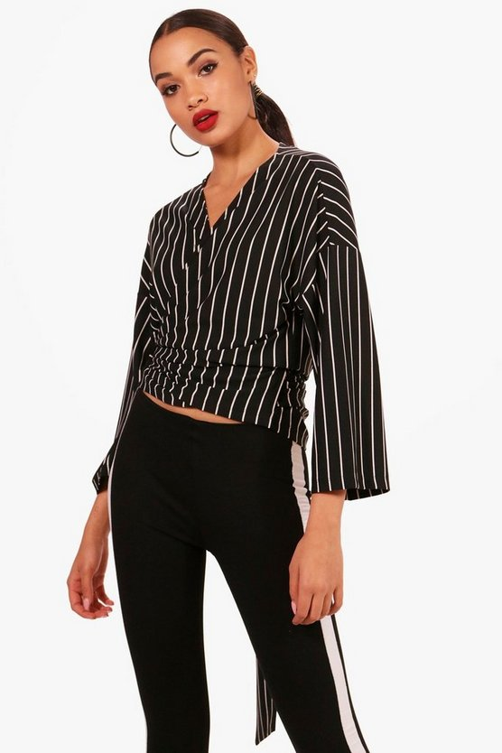 Stripe Wrap Tie Top