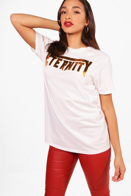 Regan Metallic Slogan Oversized Tee