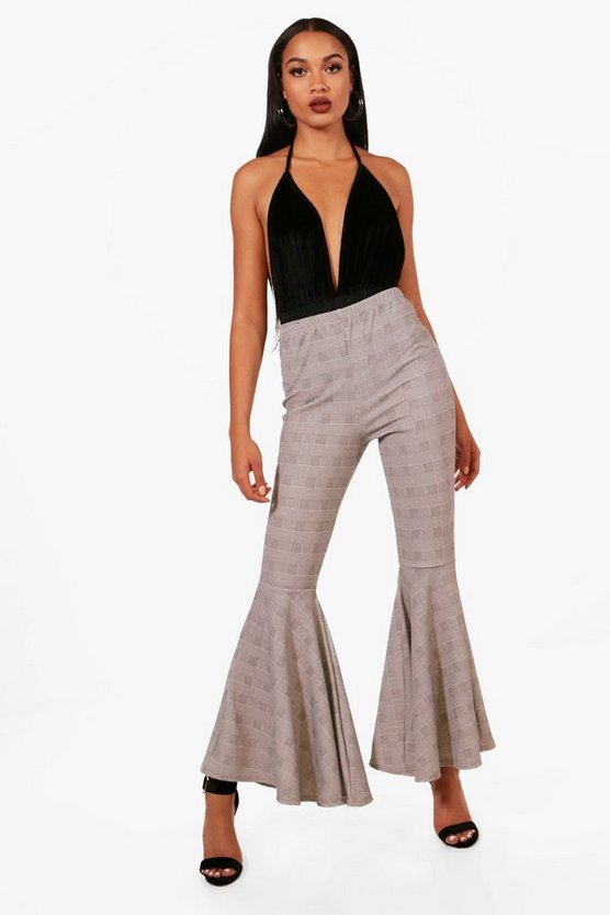 Natasha Checked Extreme Flare Trousers