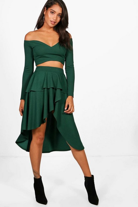 Lily Off the Shoulder Crop and Ruffle Skirt Set