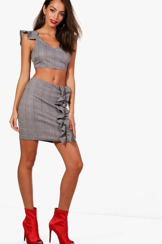 Prince of Wales Check Crop and Ruffle Skirt