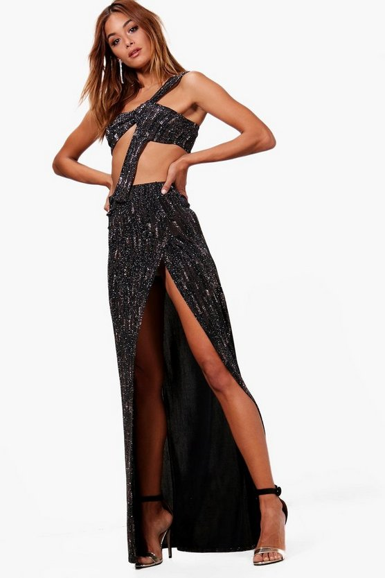 Josie Metallic High Split Maxi and Bralet Set