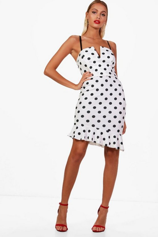 Polka Dot Plunge Bralet and Ruffle Skirt