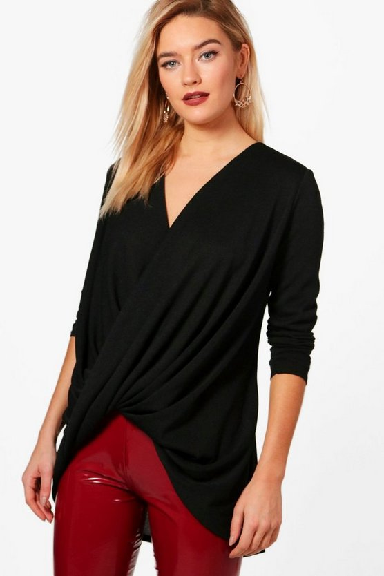 Samantha Wrap Front Knitted Top