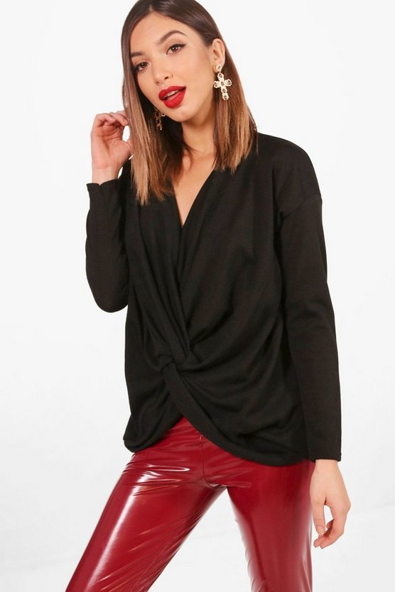 Nicola Knot Front Drape Knitted Top