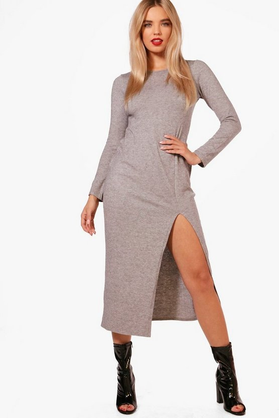 Selena Soft Knitted Dress Split Front