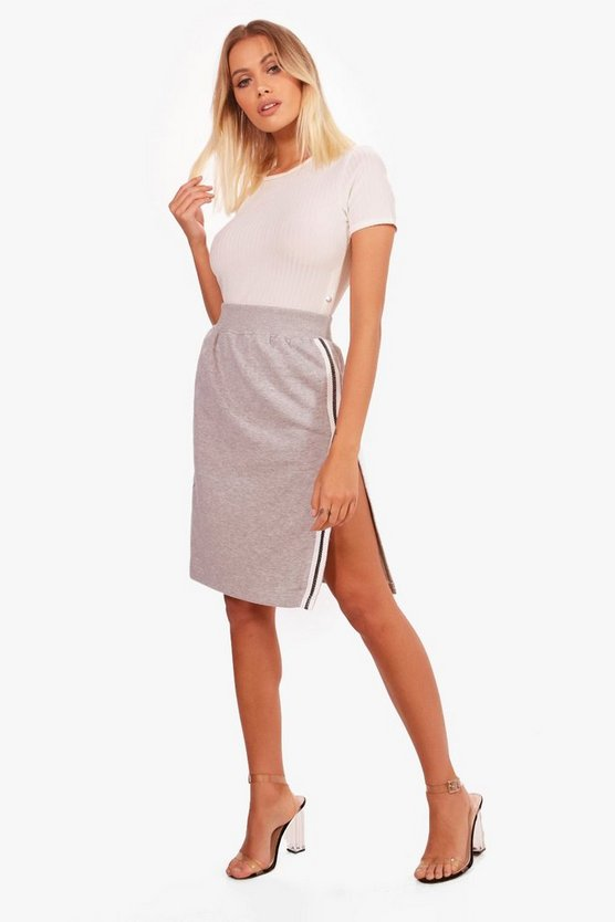 Elle Contrast Stripe Split Sweat Midi Skirt
