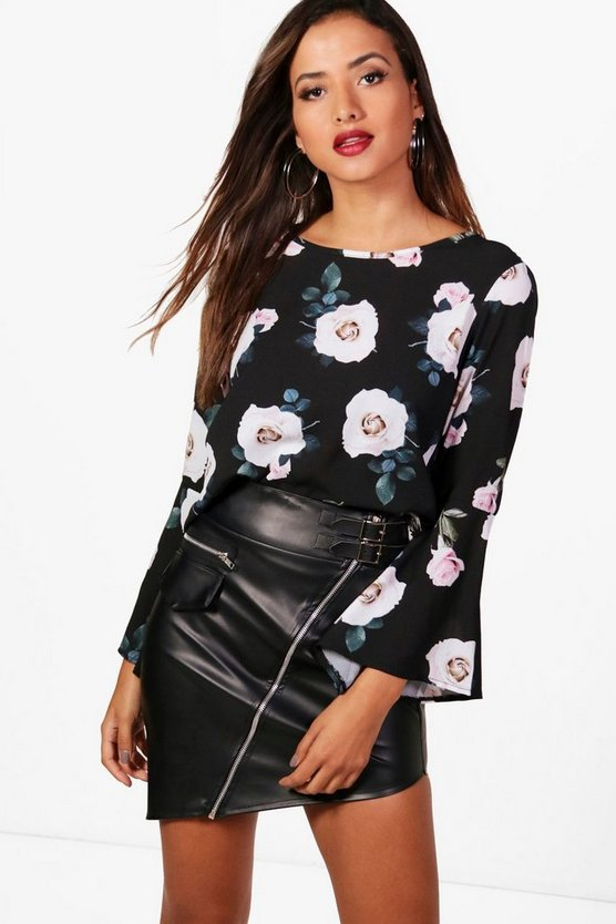 Felicity Floral Flute Sleeve Blouse