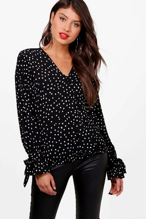 Christie Spot Print Wrap Over Blouse