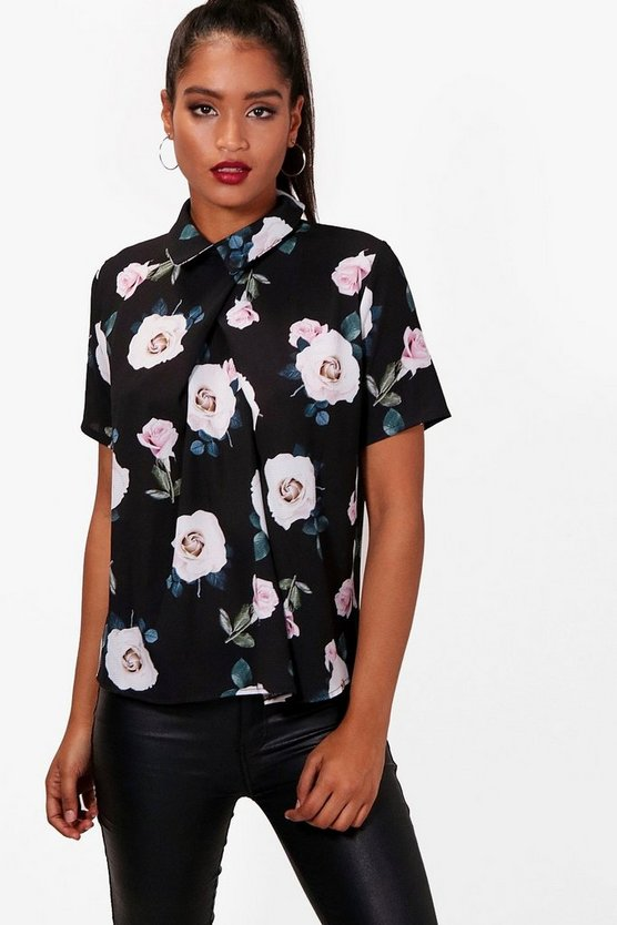 Short Sleeve Floral Chiffon Blouse