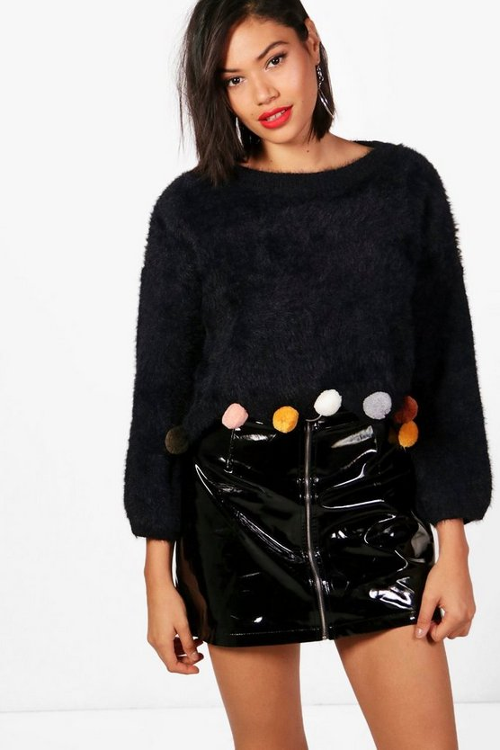 Rosie Fluffy Crop Pom Pom Jumper