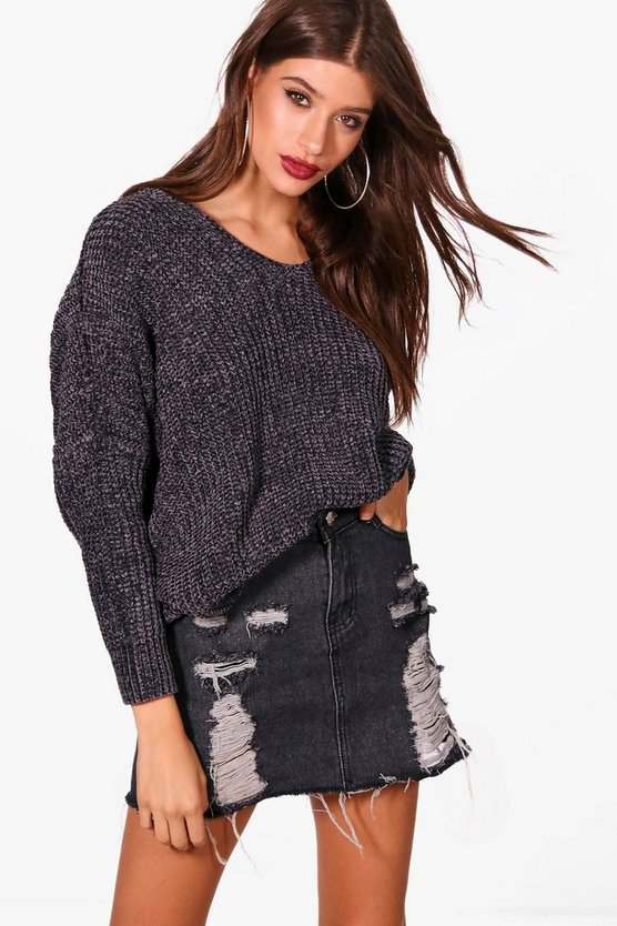 Lana Oversized V Neck And Back Chenille Jumper