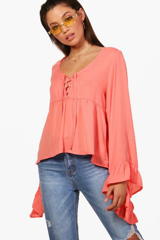 Erin Lace Up Ruffle Sleeve Blouse