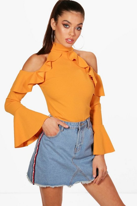 Thea High Neck Ruffle Cold Shoulder Top