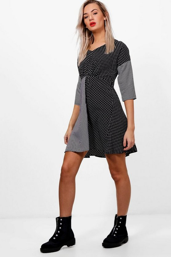 Stripe And Spot Woven Skater Dress