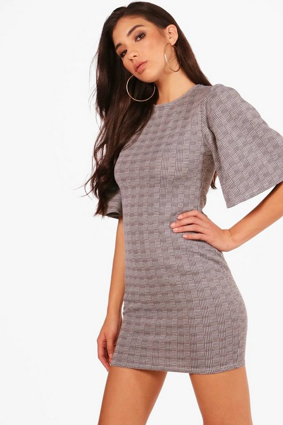 Check Wide Sleeve Shift Dress