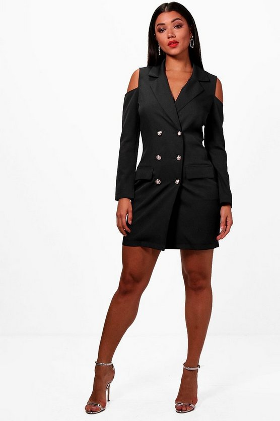 Cold Shoulder Double Breasted Blazer Dress