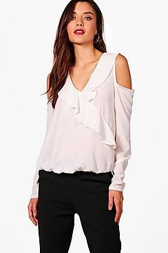 Amber Bluse mit ausgeschnittenen Schultern und Volant - Boohoo.com