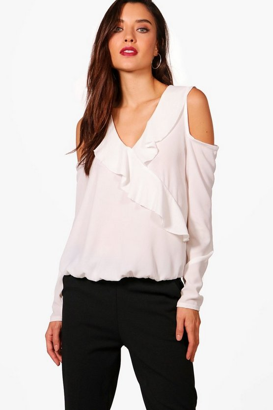 Kate Cold Shoulder Frill Blouse