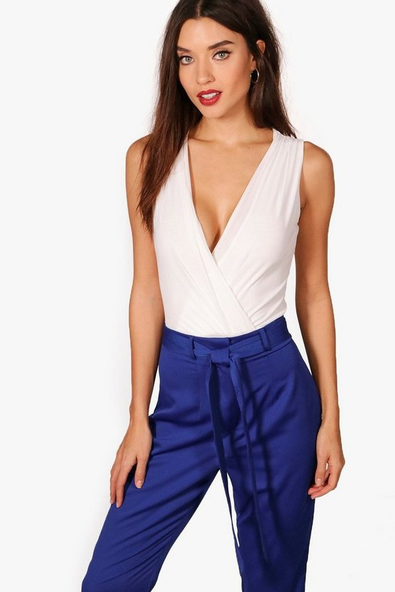 Louise Sleeveless Chiffon Wrap Bodysuit