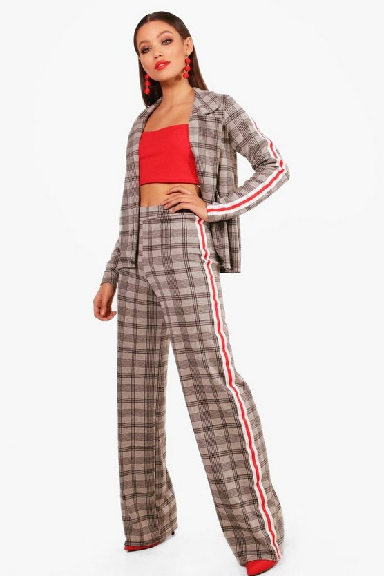 Tara Sport Stripe Wide Leg Check Trouser