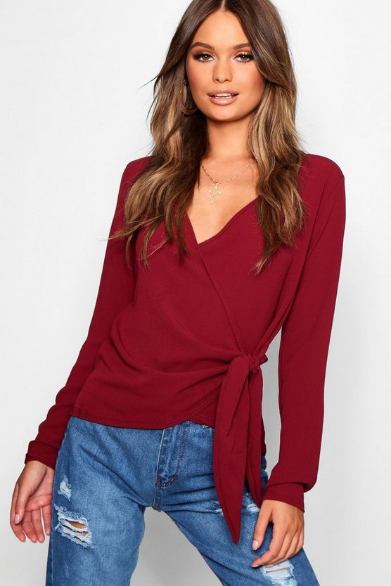 Hayley Wrap Over Tie Side Blouse