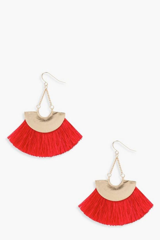 Leila Plate Fringed Tassel Earrings