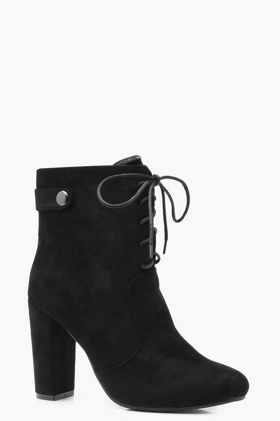 Ella Lace Up Block Heel Shoe Boots