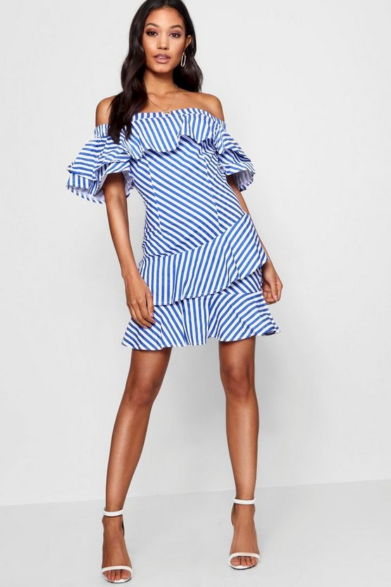 Ruffle Off The Shoulder Mini Dress