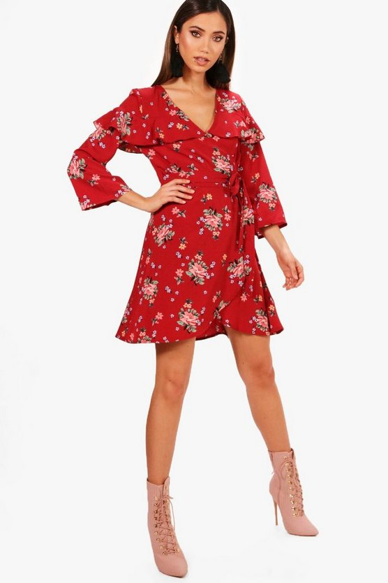 Floral Sleeve Woven Tea Dress