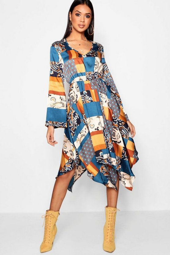 Indy Bohemian Scarf Print Midi Dress